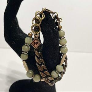 Free People Double Bracelet Brass w/ Green Stones